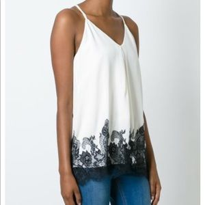 Joie Silk Tank with Lace Detail